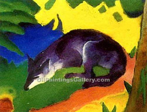 """Blue and Black Fox"" by  Franz Marc"