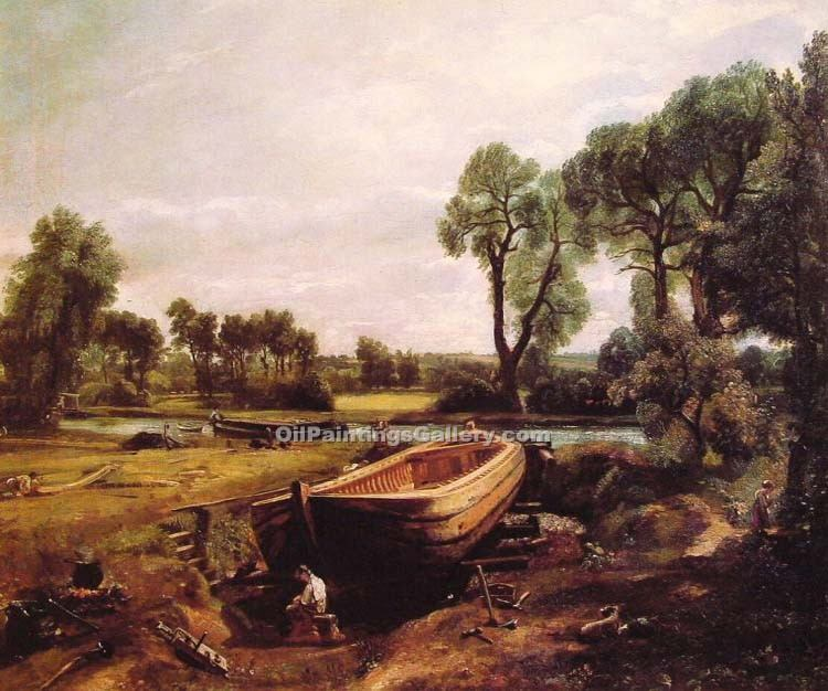 """Boat Building"" by  John Constable"