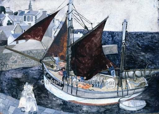 """Boat in Harbour, Brittany"" by  Christopher Wood"