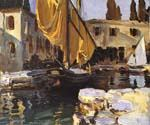 Boat wth The Golden Sail San Vigilio by  John Singer Sargent (Painting ID: LA-0201-KA)