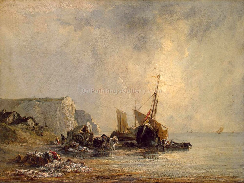 """Boats Near the Shore of Normandy"" by  Richard Parkes Bonington"