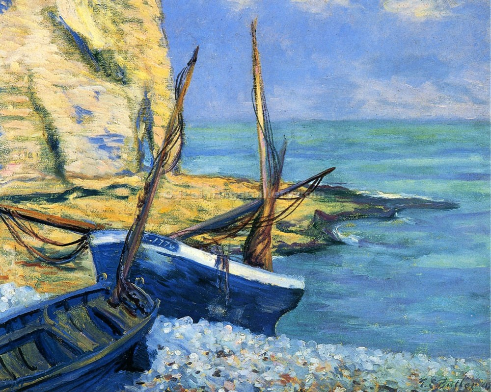 """Boats at Etretat"" by Theodore Earl Butler"