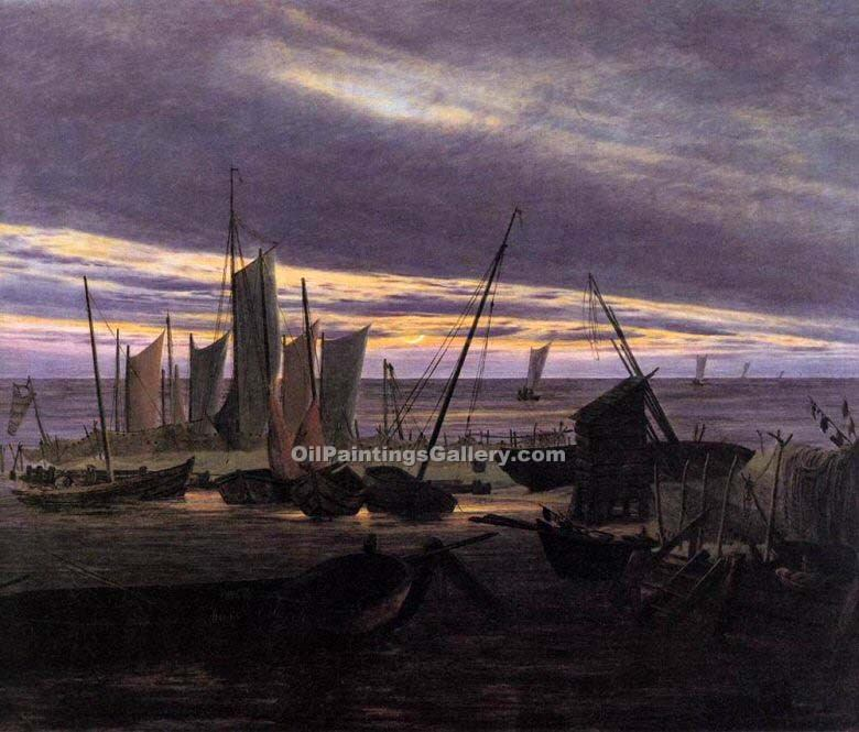 """Boats in the Harbour at Evening"" by  Caspar David Friedrich"