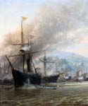 Bombardment of Foutcheou by  Charles Euphrasie Kuwasseg (Painting ID: LA-2200-KA)
