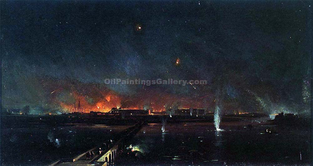 """Bombardment of Marghera on the Night of May 24, 1849"" by  Ippolito Caffi"