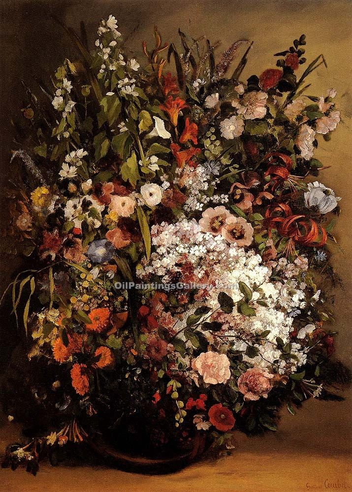 """Bouquet of Flowers in a Vase"" by  Gustave Courbet"