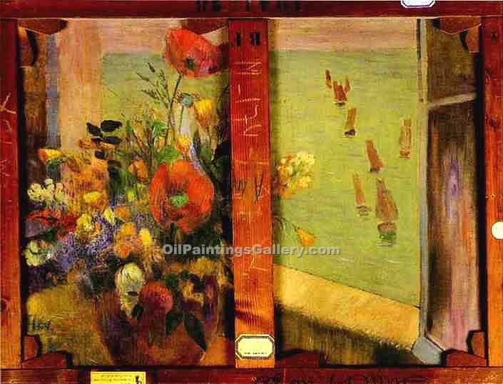 """Bouquet of Flowers with a Window"" by  Paul Gauguin"