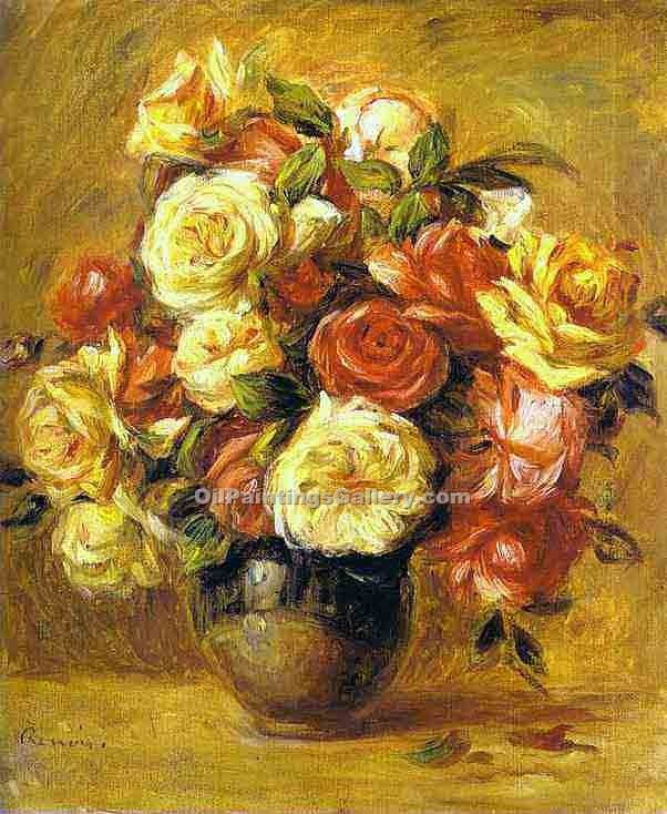 """Bouquet of Roses 09"" by  Pierre Auguste Renoir"