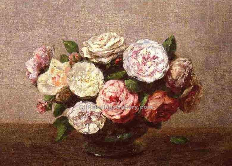 """Bowl of Roses"" by  Henri Fantin Latour"