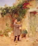 Boy with Flower Pots by  Frederick Childe Hassam (Painting ID: EI-0750-KA)