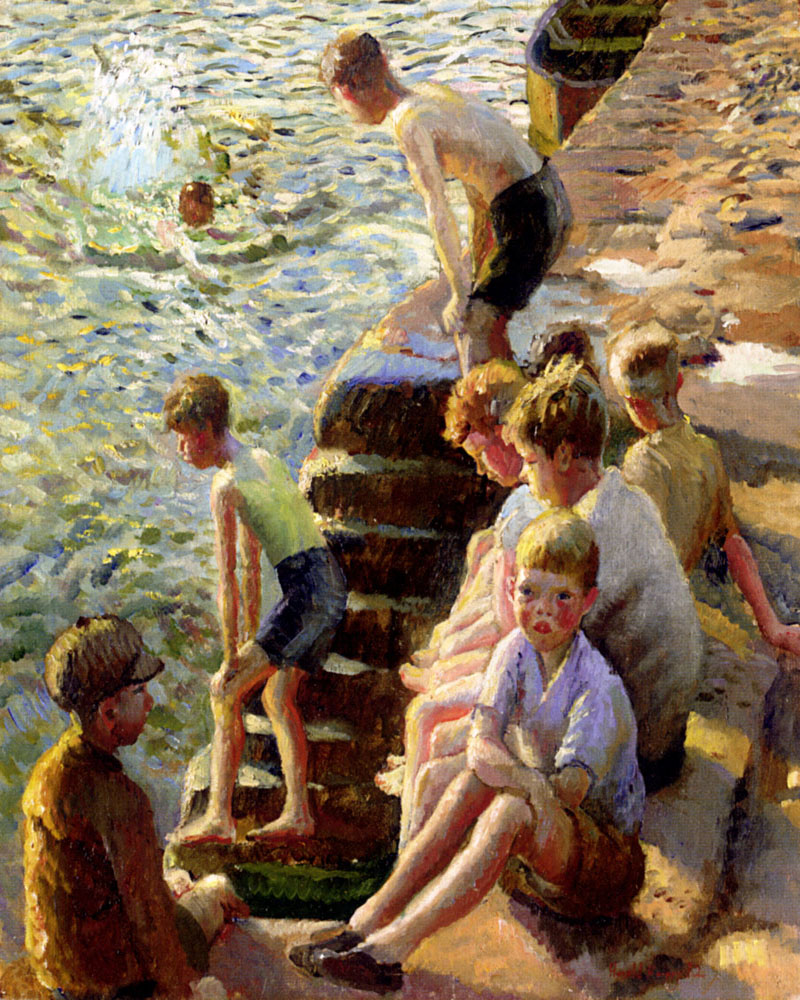 """Boys Bathing"" by  Harold Harvey"