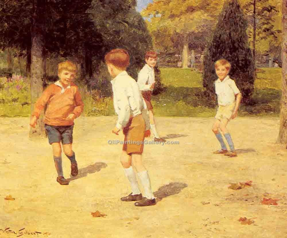 """Boys Playing"" by  Victor Gabriel Gilbert"