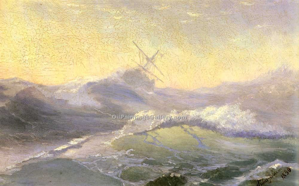 Bracing the Waves by Ivan Aivazovsky | Oil Painting Landscapes - Oil Paintings Gallery