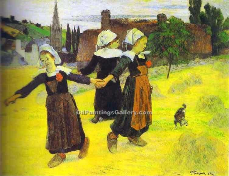 """Breton Girls Dancing Pont-Aven"" by  Paul Gauguin"