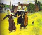 Breton Girls Dancing Pont-Aven by  Paul Gauguin (Painting ID: GA-0226-KA)
