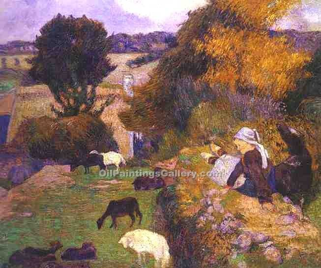 """Breton Shepherdess"" by  Paul Gauguin"