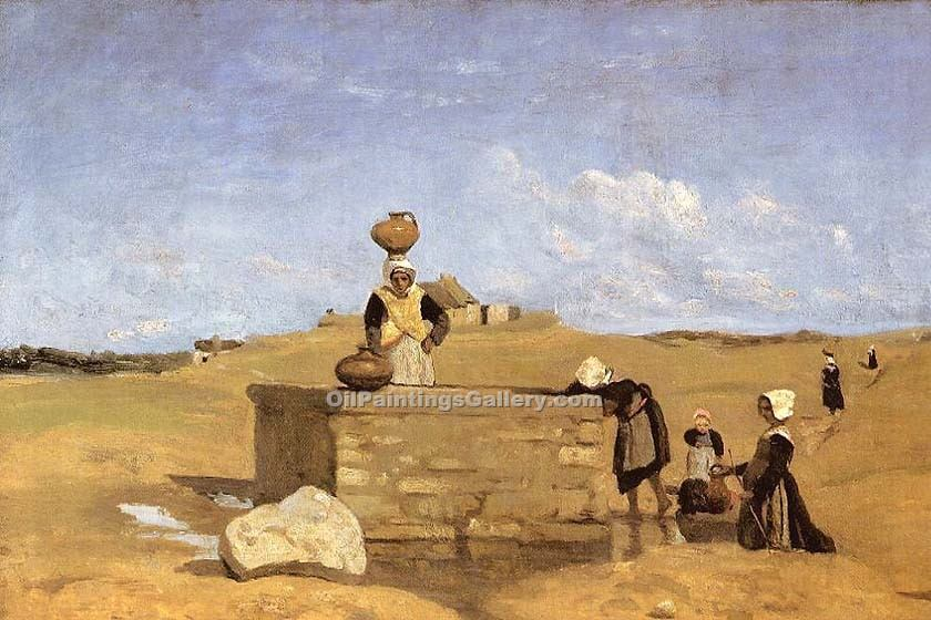 """Breton Women at the Fountain"" by  Jean Baptiste Corot"