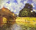 Bridge at Hampton Court by  Alfred Sisley (Painting ID: LA-0343-KA)
