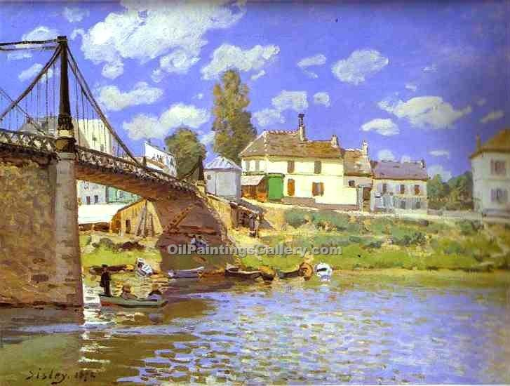 """Bridge at Villeneuve-la-Garenne"" by  Alfred Sisley"