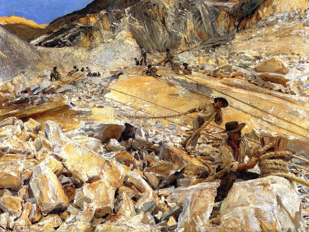 Bringing Down Marble from the Quarries in Carrara by John Singer Sargent | Modern Art Online Gallery