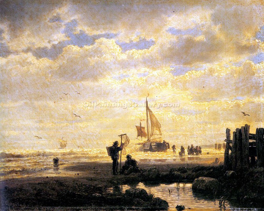 Bringing in the Catch by Achenbach Andreas | Abstract Art Online - Oil Paintings Gallery