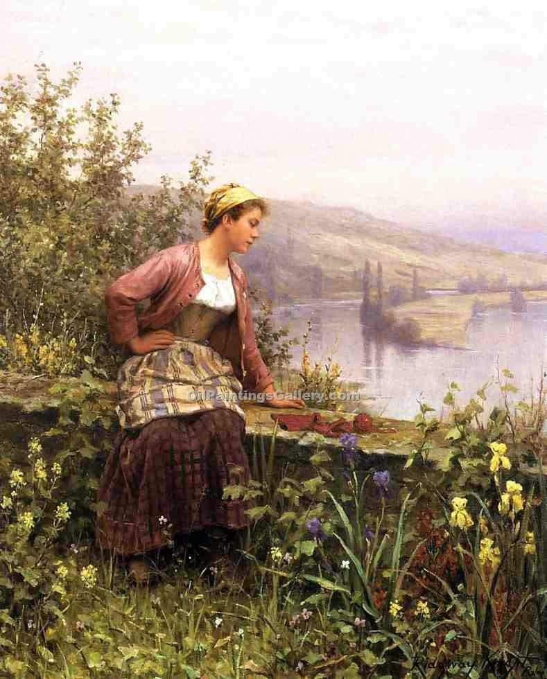 """Brittany Girl Overlooking Stream"" by  Daniel Ridgway Knight"