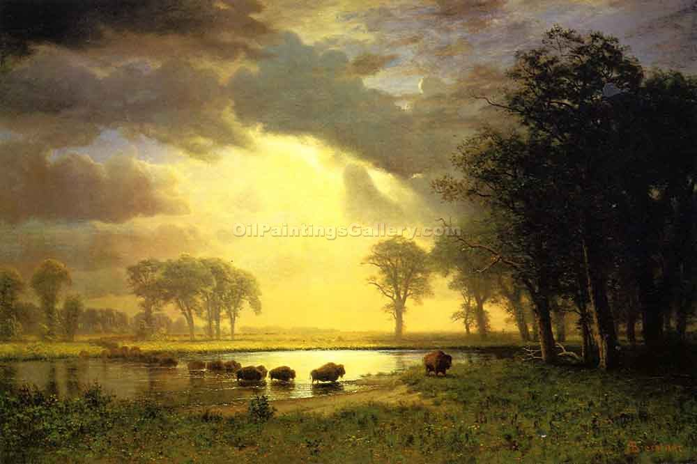 """Buffalo Trail"" by  Albert Bierstadt"