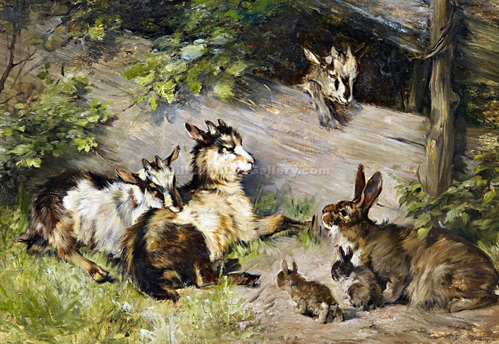 """Bunnies and Kids at the Gate"" by  Julius Adam"