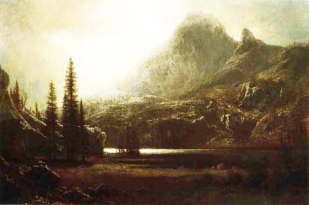 """By a Mountain Lake."" by  Albert Bierstadt"