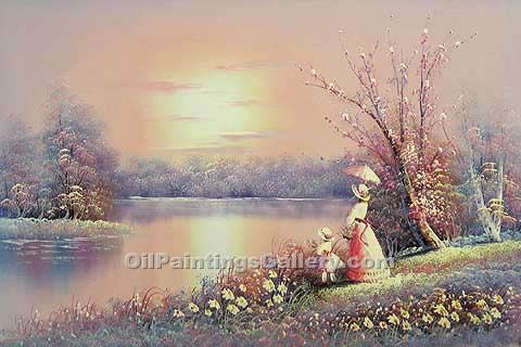 Buy Landscape with Figure Oil Painting Online - Post Impressionism Paintings