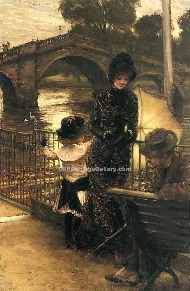 By the Thames at Richmond by James Tissot | Gallery Of Paintings - Oil Paintings Gallery