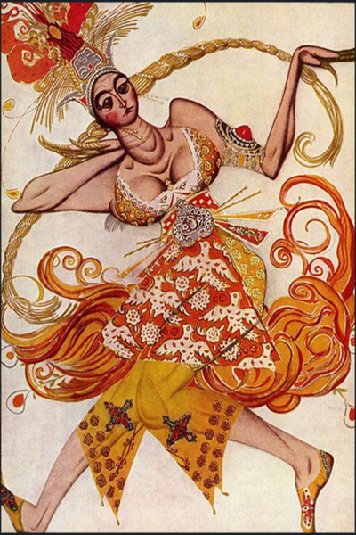 Costume design fort the Firebird by Léon Bakst | Canvas Oil Painting - Oil Paintings Gallery