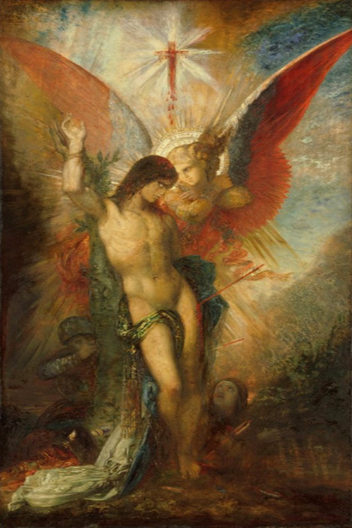 St. Sebastian and the Angel by Moreau Gustave | Oil Paintings On Canvas - Oil Paintings Gallery