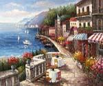 Cafe on the Riviera  (Painting ID: LA-1117-KA)