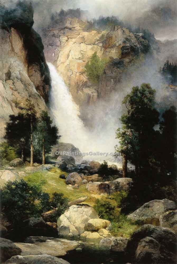 """Cascade Falls Yosemite"" by  Thomas Moran"