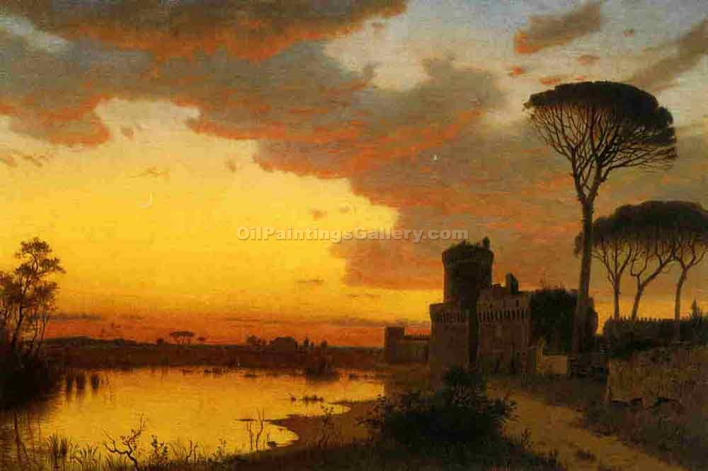 Castle at Ostia, Lazio, Italy by William Stanley Haseltine | Art Shop Online - Oil Paintings Gallery