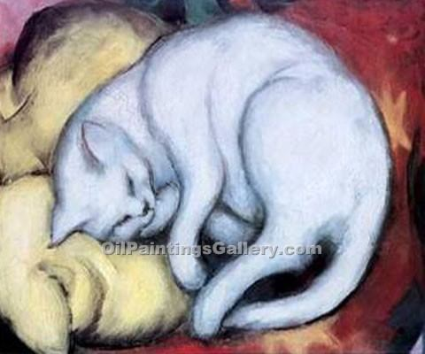 """Cat on a Yellow Pillow"" by  Franz Marc"