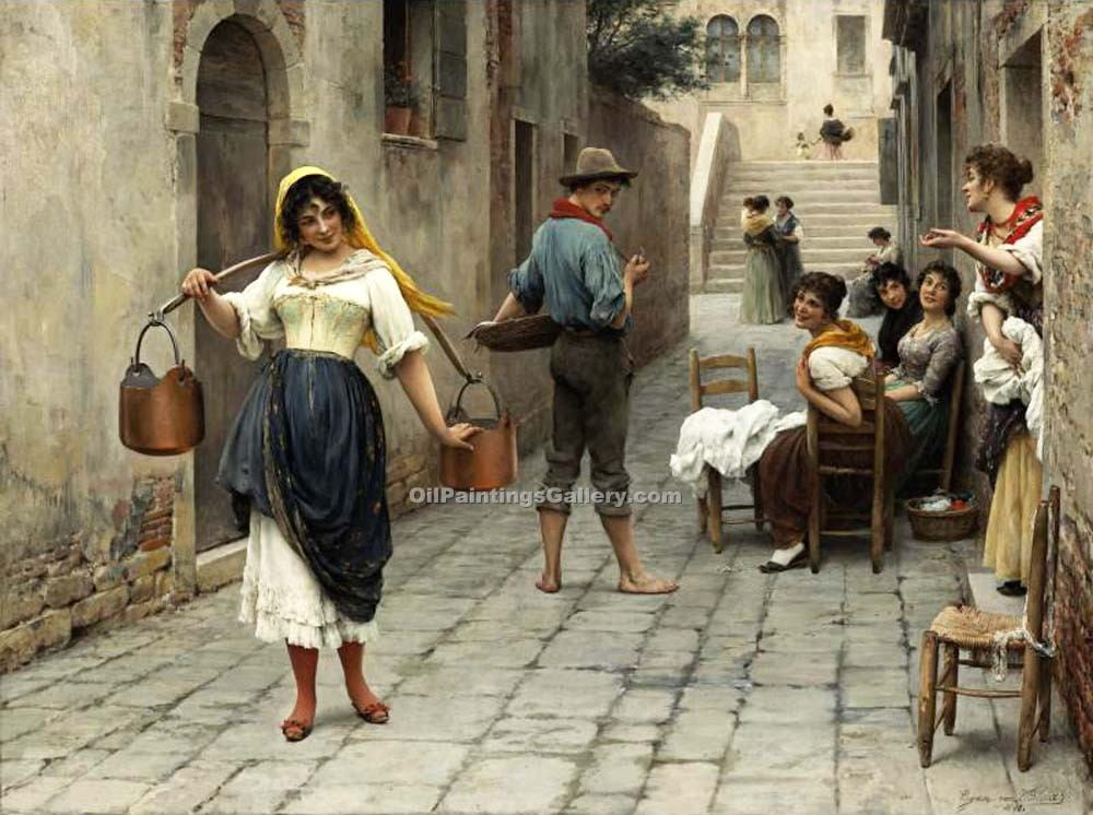 """Catch of the Day"" by  Eugene de Blaas"