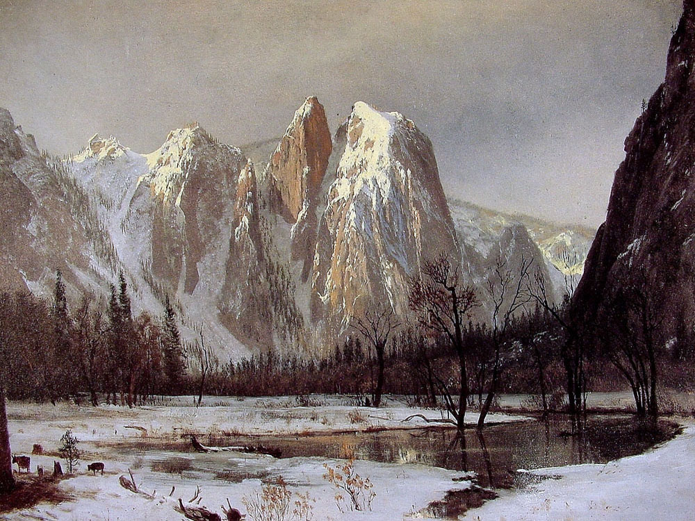 """Cathedral Rock, Yosemite Valley, California"" by  Albert Bierstadt"
