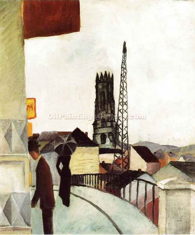 """Cathedral at Freiburg Switzerland"" by  August Macke"