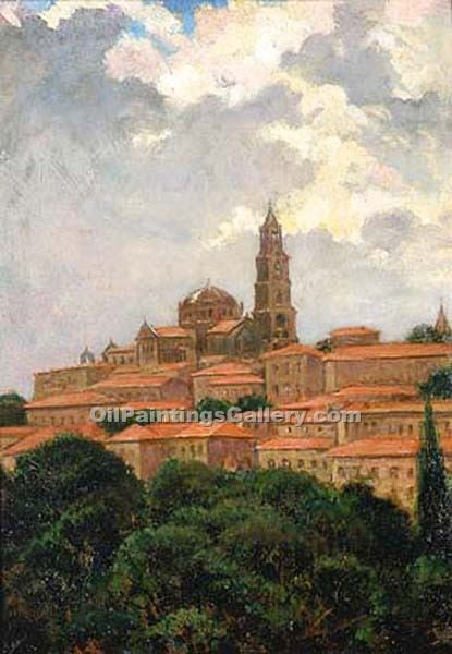 """Cathedral at le Puy, France"" by  James Carroll Beckwith"