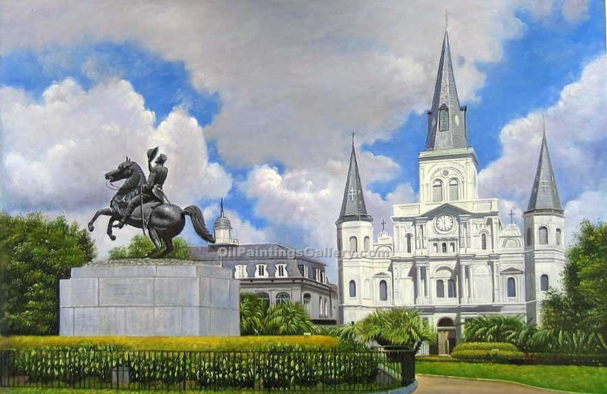 Buy City Oil Paintings Online | Realism & Naturalism styles | Cathedral of St. Louis in New Orleans