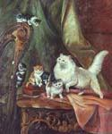 Cats Playing on a Harp by  Henriette Ronner Knip (Painting ID: AN-1122-KA)