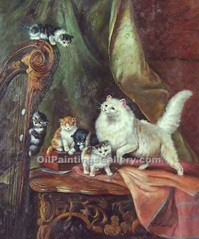 """Cats Playing on a Harp"" by  Henriette Ronner Knip"