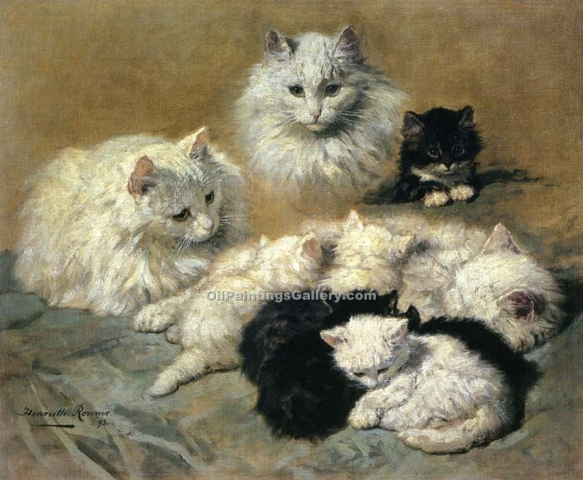"""Cats and Kittens"" by  Henriette Ronner Knip"
