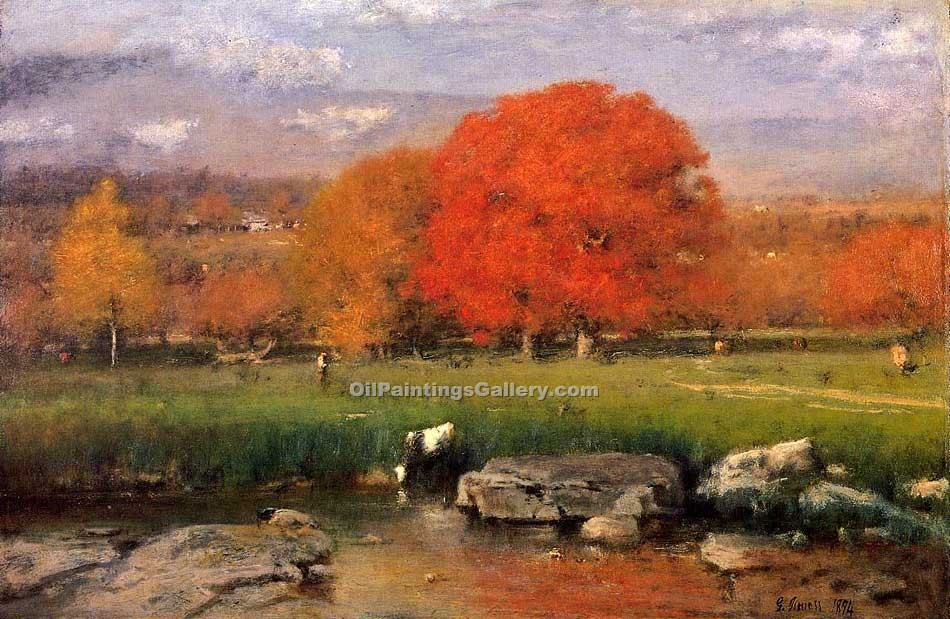 Catskill Valley the Red Oaks by George Inness | Artwork Paintings - Oil Paintings Gallery