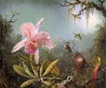 Cattelya Orchid and Three Brazilian Hummingbirds by  Martin Johnson Heade (Painting ID: AN-0836-KA)