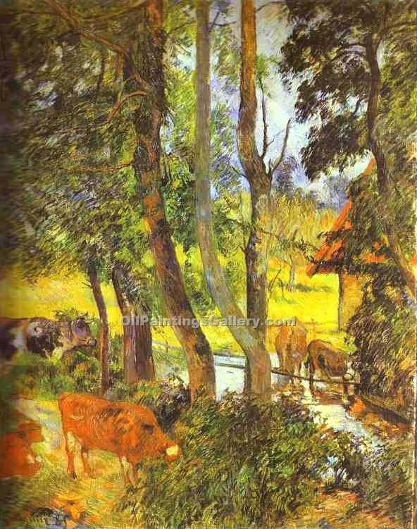 """Cattle Drinking"" by  Paul Gauguin"