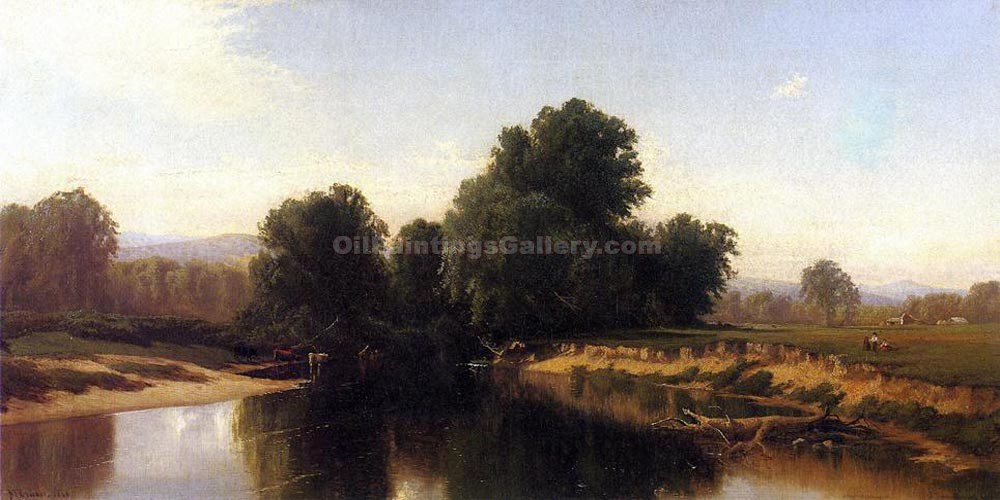 """Cattle by the River"" by  Alfred Thompson Bricher"