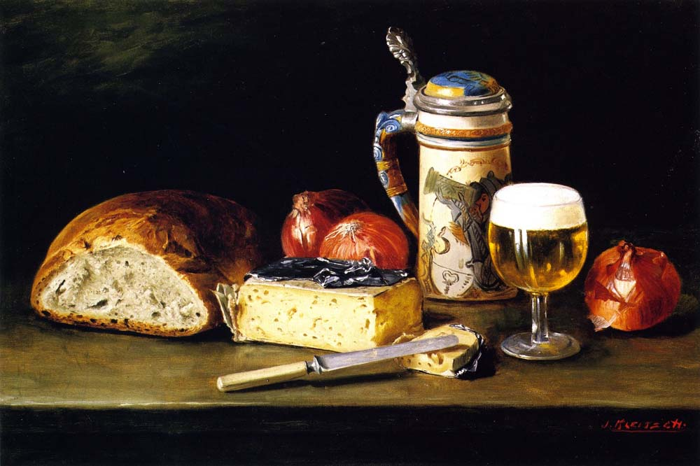 """Cheese, Onions, Bread, and Tankard"" by  Joseph Kleitsch"